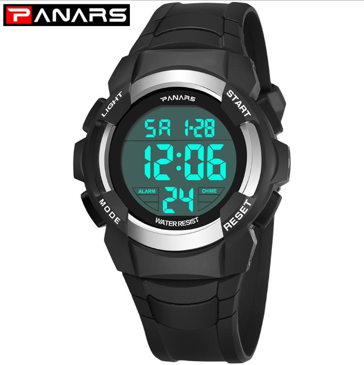 PANARS Watches Student 50M Waterproof Electronic LED Digital Watch Boy Outdoor Boys Sports Wrist Watches Stopwatch Montre Garcon
