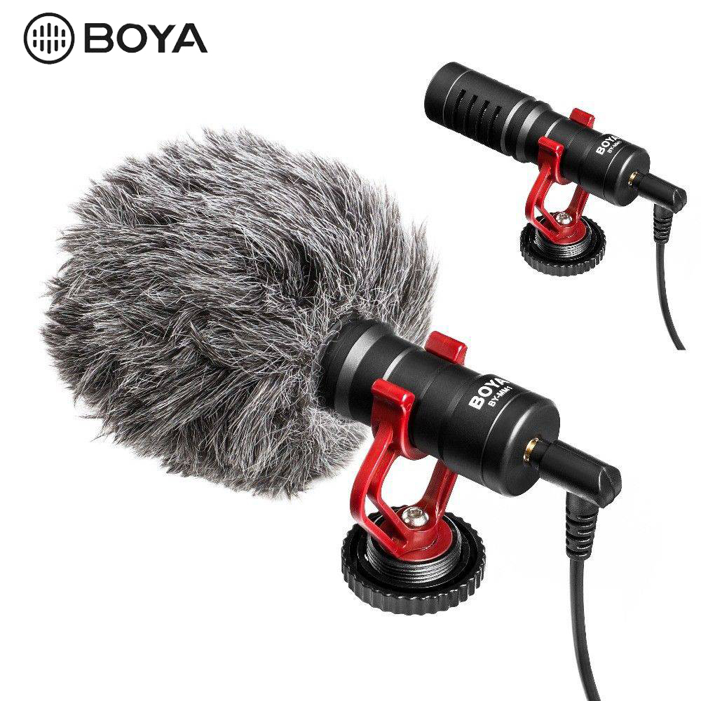 BOYA BY MM1 Microphone On Camera Video Recording Mic for Smartphone Canon Nikon Sony DJI Osmo DSLR Camera|Microphones| |  - title=