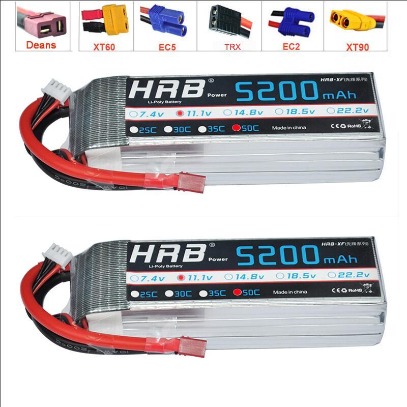 2 шт. HRB RC Lipo батарея 11,1 V 5200MAh 50C 100C для радиоуправляемого автомобиля квадрокоптера вертолета лодки самолета гигантского радиоуправляемого B-17 самолета, Спарта