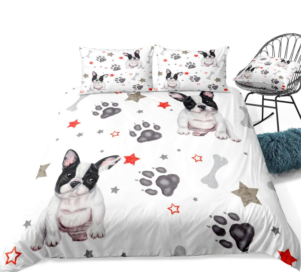 3 Pieces Dog Duvet Cover Set Cartoon Bulldog Bedding Stars and Dog Paw Home Textiles White Quilt Cover Pet Bed Set Dropship  My Pet World Store