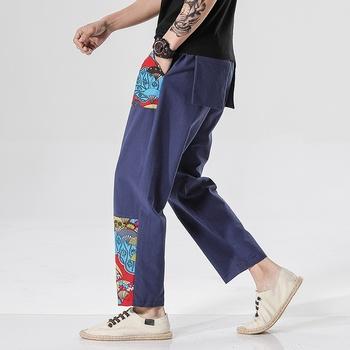 Chińskie stylowe spodnie męskie bawełniane lniane w pasie spodnie na co dzień chińskie spodnie chińskie tradycyjne ubrania dla mężczyzn 10941 tanie i dobre opinie Tangslady COTTON Linen Suknem