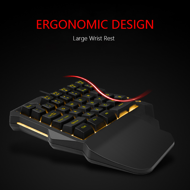 RedThunder One-Handed Gaming Keyboard RGB Backlit Portable Mini Gaming Keypad Ergonomic Game Controller for PC PS4 Xbox Gamer 5