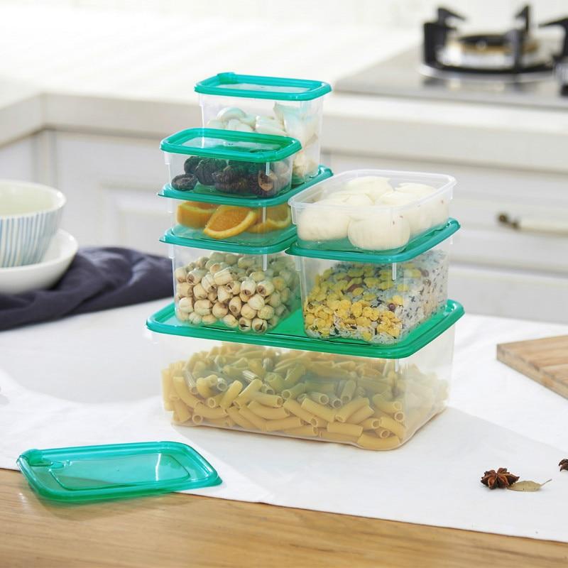 Купить 17pcs/set plastic storage boxes with lid kitchen fresh keeping