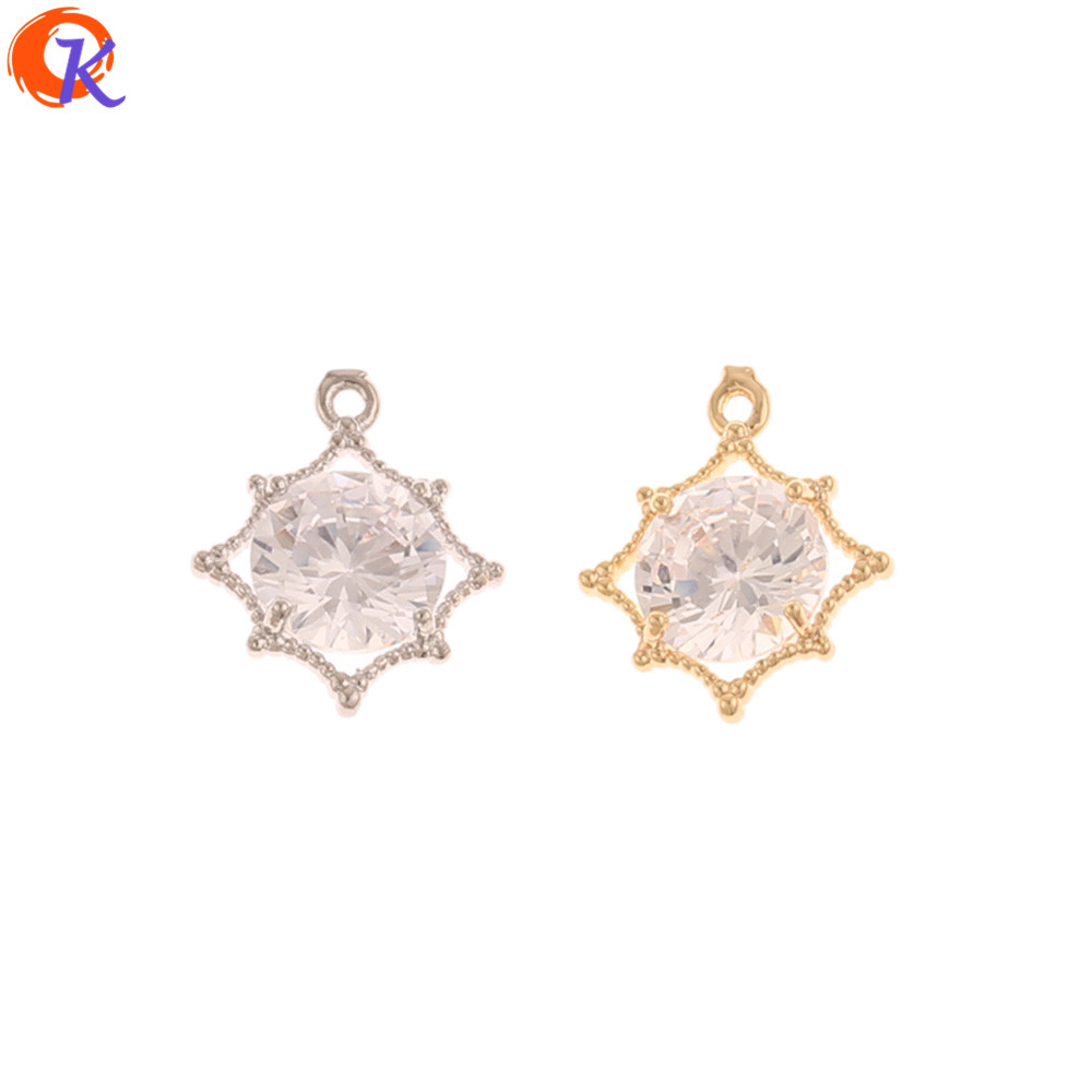 Cordial Design 30Pcs 13*15MM Jewelry Making/DIY Pendant/Genuine Gold Plating/CZ Earrings Charms/Hand Made/Earring Findings