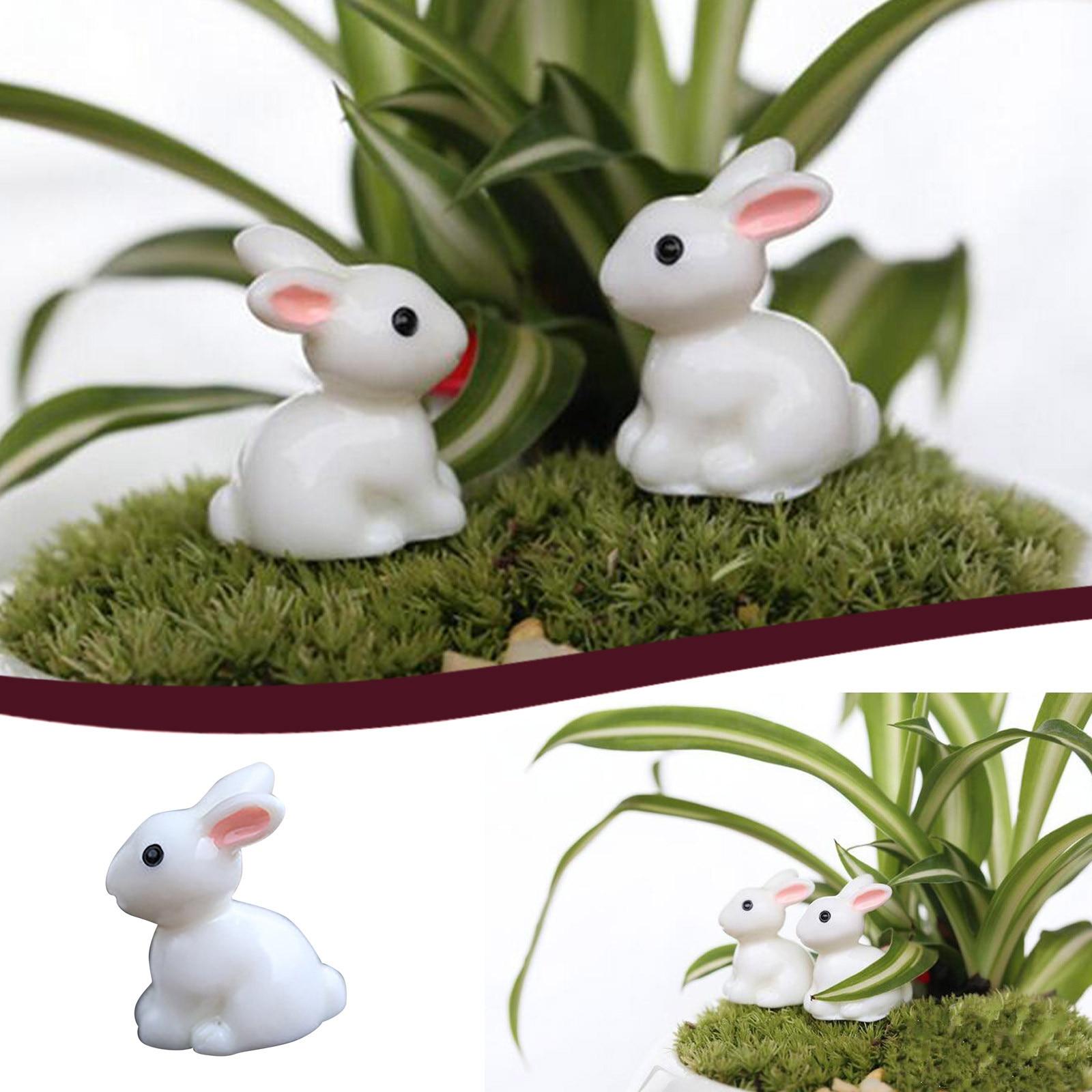 Adornos de conejo de Pascua Artesanías en miniatura para el día de Pascua, jarrón de decoración parágrafo exteriores, señal de jardín