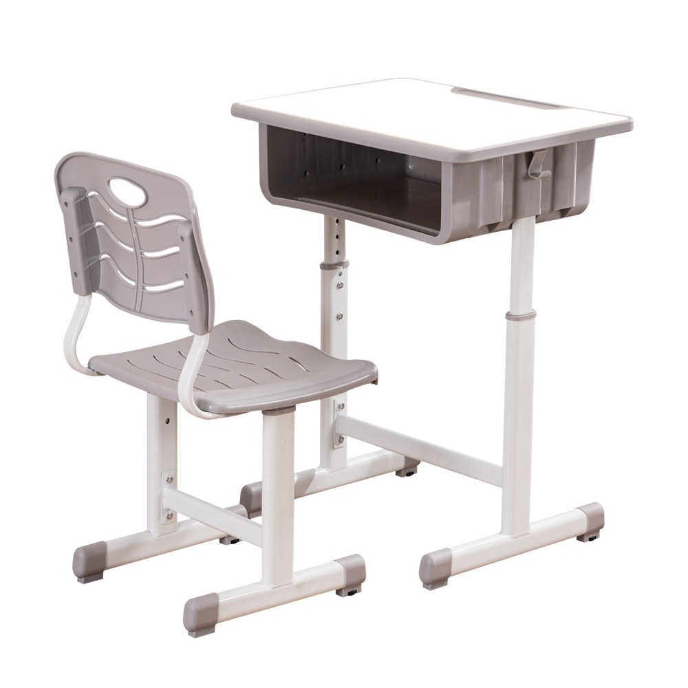 Adjustable Children Desk And Chairs Set Density Board & Plastic  White Student  Desk Set With Pencil Slot For School  Supplies