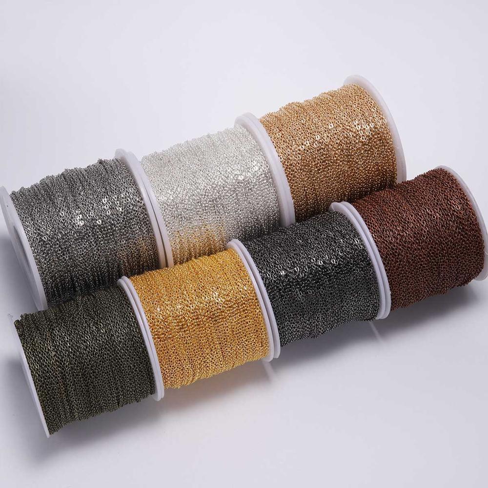 5 м/лот позолоченное/бронзовое ожерелье цепочка для изготовления ювелирных изделий своими руками цепочки для ожерелья материалы товары руч...