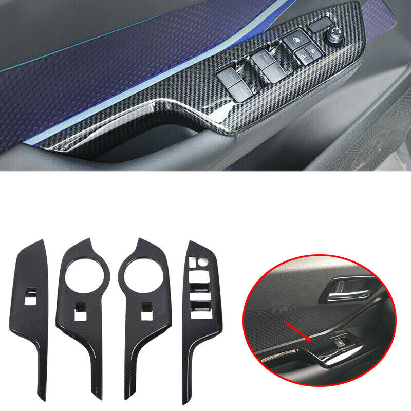 Carbon Fiber Style Gear Shift Box Panel Cover Trim For Toyota C-HR 2016-2018