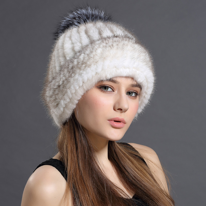 Women's Knitted Mink Hat 2019 Women's Fur Hats  New Fashion Suede Hat Fox Fur Ball Women Winter Headgear Cap Ski Cap