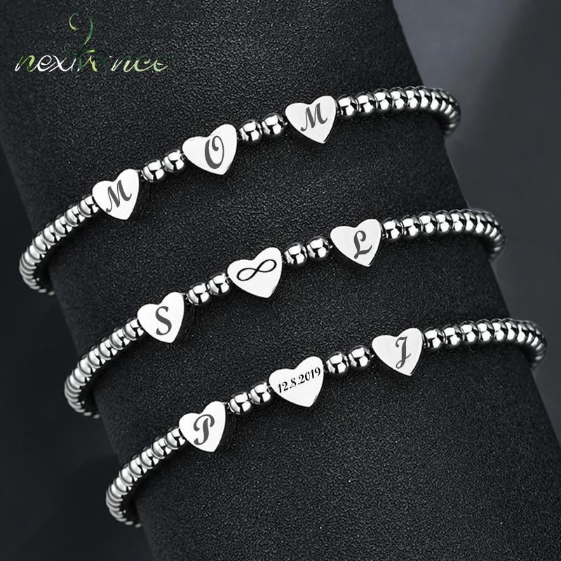 Nextvance Personalized Name Date Heart Strand Bracelet Stainless Steel Engrave Beads Bracelet For Women Girl Birthday Gift DIY