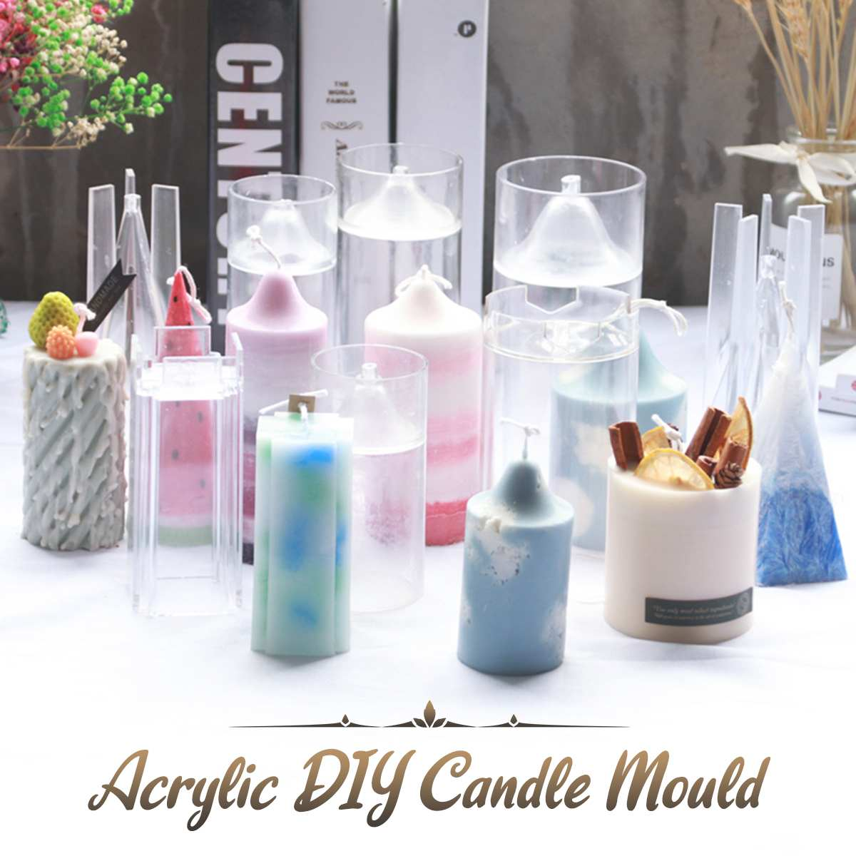 1pcs Reusable Candle Mould Handmade Craft Fashion Christmas Aroma Candle Gypsum Making Candle Mold DIY Homemade Soap Mould