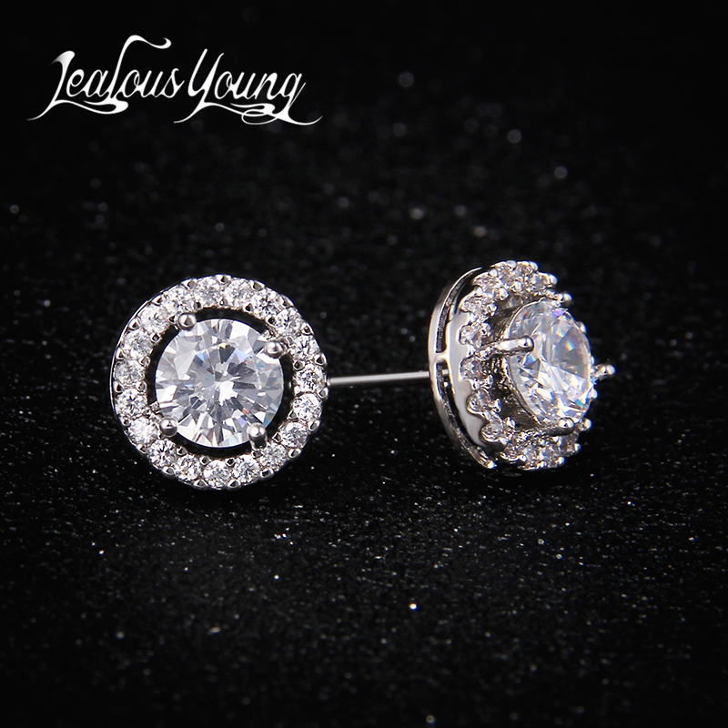 Classic Round AAA+ Cubic Zirconia Stud Earrings For Women Party Gift Crystal Earings Fashion Jewelry For Men oorbellen AE177
