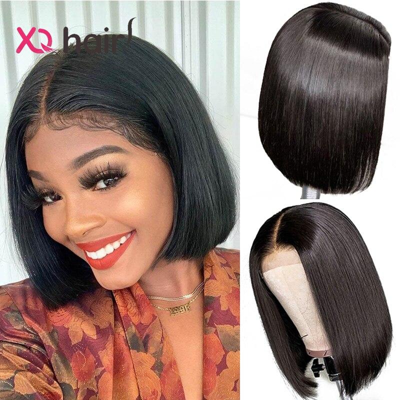 Xq 100% perucas de cabelo humano em linha reta rendas encerramento peruca malaio bob peruca para preto mulheres pré arrancadas remy cabelo 4x4 curto bob perucas