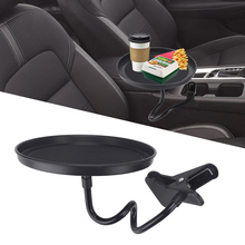 Regulowany stół samochodowy taca gastronomiczna uchwyt na kubek samochodowy napój butelka na kawę organizator obrotowy uchwyt zacisku tacy