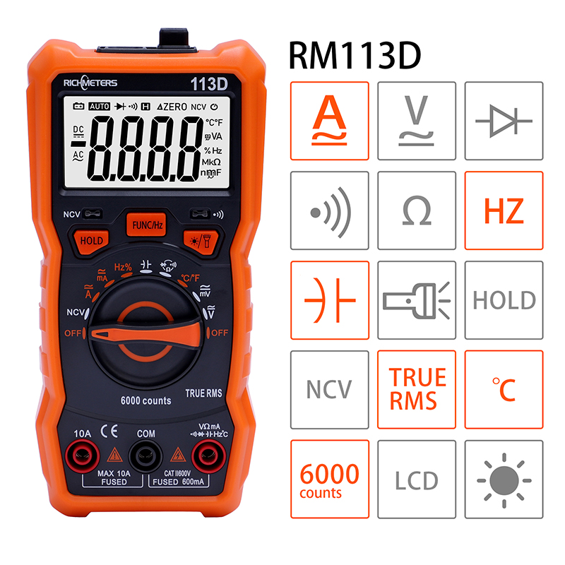 RICHMETERS RM113D NCV Digital Multimeter 6000 Counts Auto Ranging AC/DC Voltage Meter Flash Back Light Large Screen 113A/D