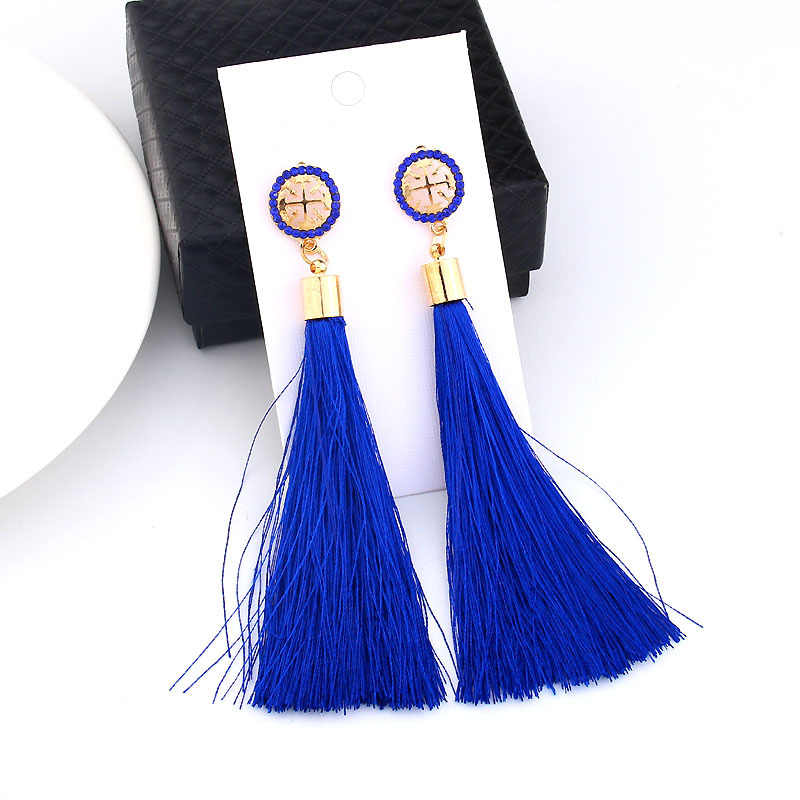 Yellow Crystal Flower Fringe Earings Earing Geometric Long Dangle Tassel Earrings For Women 2019 Fashion Jewelry Oorbellen Gift