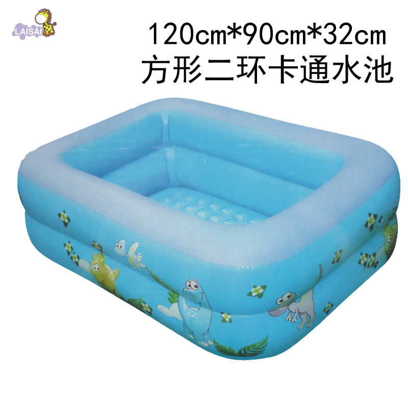 New Products Cartoon Swimming Pool 120 Cm Square Inflatable Pool Baby Play With Water Bathing Pool Second Ring Party Pool