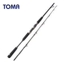 TOMA – canne à pêche Spinning en fibre de carbone, pour pêche en mer, Jigging, pêche en bateau, eau salée, 1.65m 1.8m MH puissance 50-200g, 2 Sections