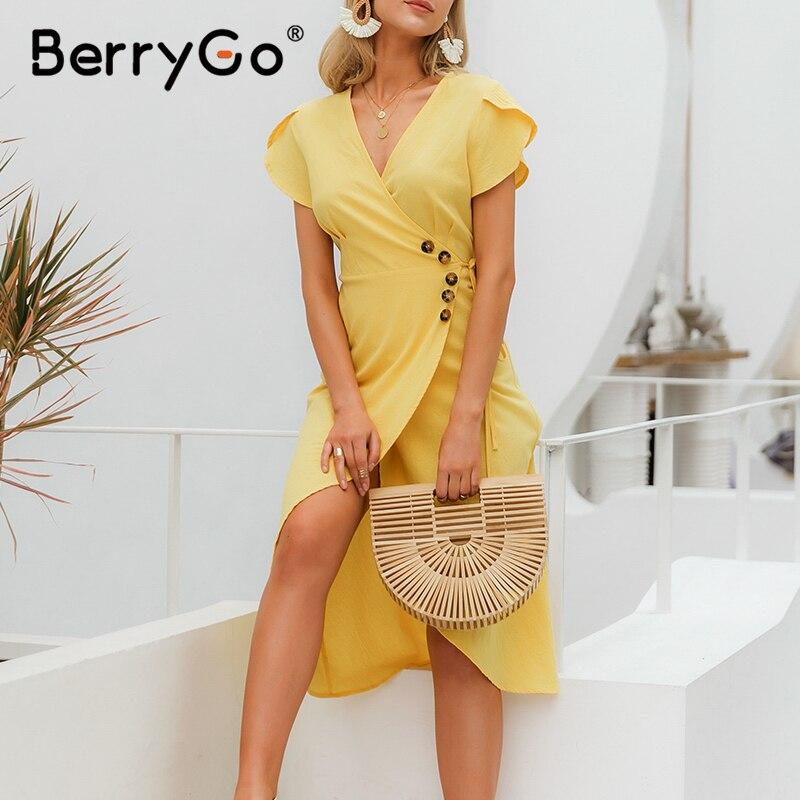 Image 5 - BerryGo Sexy v neck a line solid women dress Elegant ladies cotton slim fit bodycon dress Casual button wrap spring summer dressDresses   -