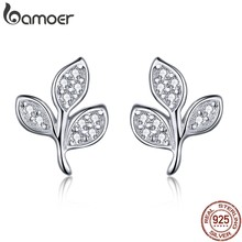 BAMOER Fashion 925 Sterling Silver Tree of Life Dazzling CZ Tree Leaves Stud Earrings For Women Sterling Silver Jewelry SCE431(China)