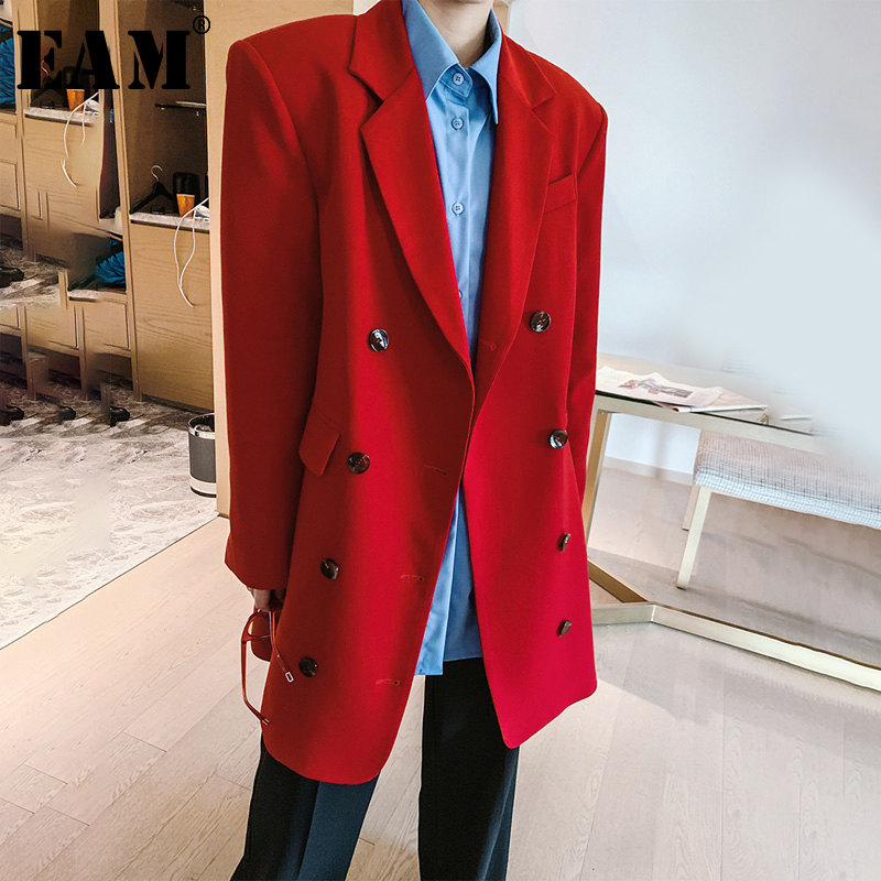 [EAM]  Women Red Double Breasted Belt Blazer New Lapel Long Sleeve Loose Fit  Jacket Fashion Tide Spring Autumn 2020 1R356