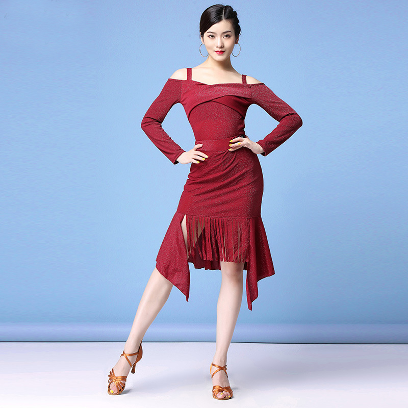 New Saxy Women Ballroom Latin Rhythm Salsa Rumba Competition Dance Shoulder Irregular Latin Dresses