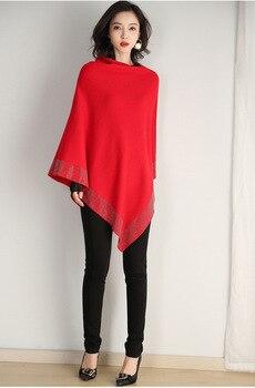 2019 women retro cape coat female cloak autumn 2019 new diamond knitted shawl sweater loose bat sleeve temperament 4