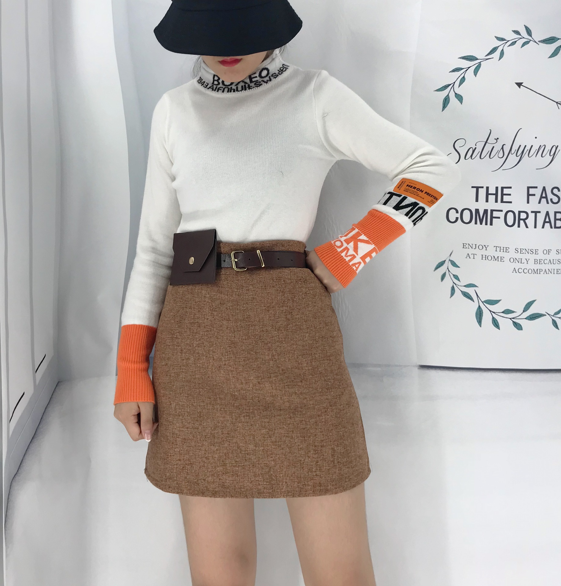 Photo Shoot 2019 Autumn New Style Korean-style Retro High-waisted A- Line Skirt Skirt Women's Fashion PU Leather Wallet Sheath S
