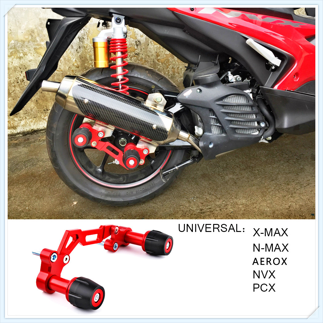 SMOK Motorcycle Adjustable Exhaust Pipe Sliders Falling Protector for <font><b>Yamaha</b></font> NVX NMAX 155 <font><b>XMAX</b></font> 300 PCX <font><b>125</b></font> Forza Lexi image