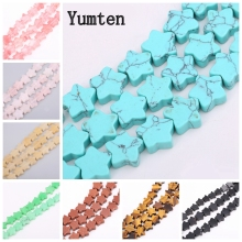 цены Yumten Pentagram Turquoise Beads Irregular Natural Stone Bead Wholesale DIY Beaded Jewelry Accessories Gemstone Necklace Women