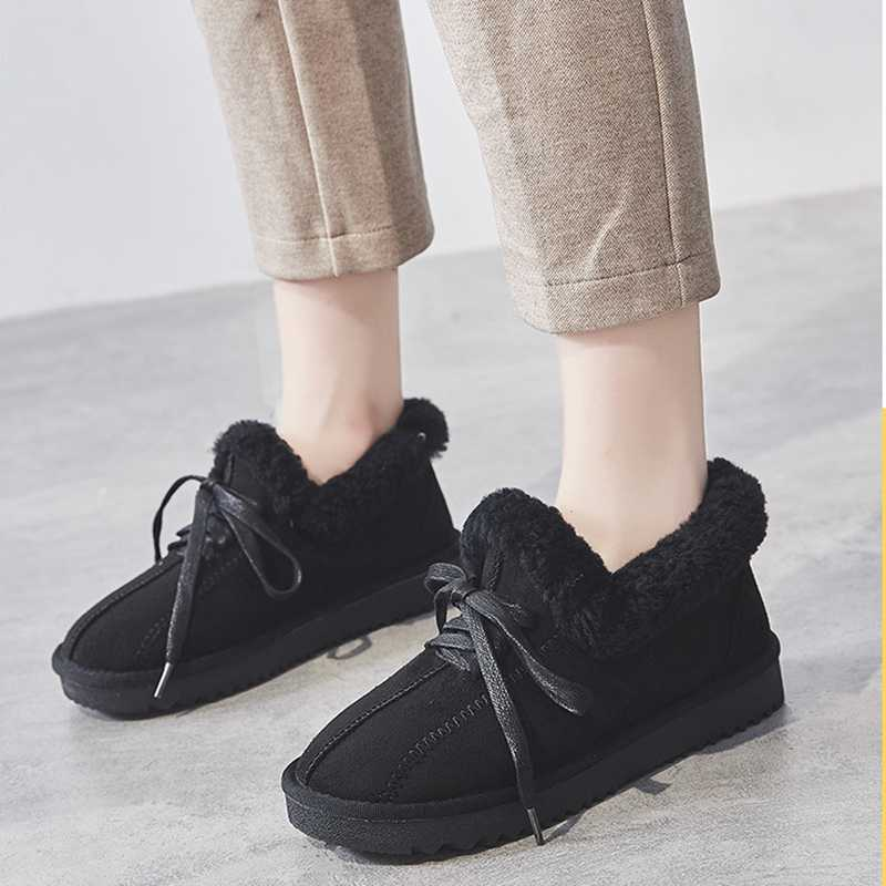 SWYIVY hakiki deri çizme kış ayakkabı tavşan kürk ayakkabı platformu kadın günlük çizmeler 2019 yeni kadın yarım çizmeler kar ayakkabıları
