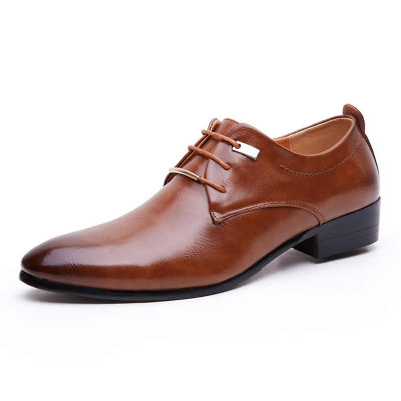 Merkmak Mannen Lederen Schoenen Man Business Jurk Klassieke Stijl Flats Bruin Zwart Lace Up Wees Teen Schoen Voor Mannen Oxford schoenen