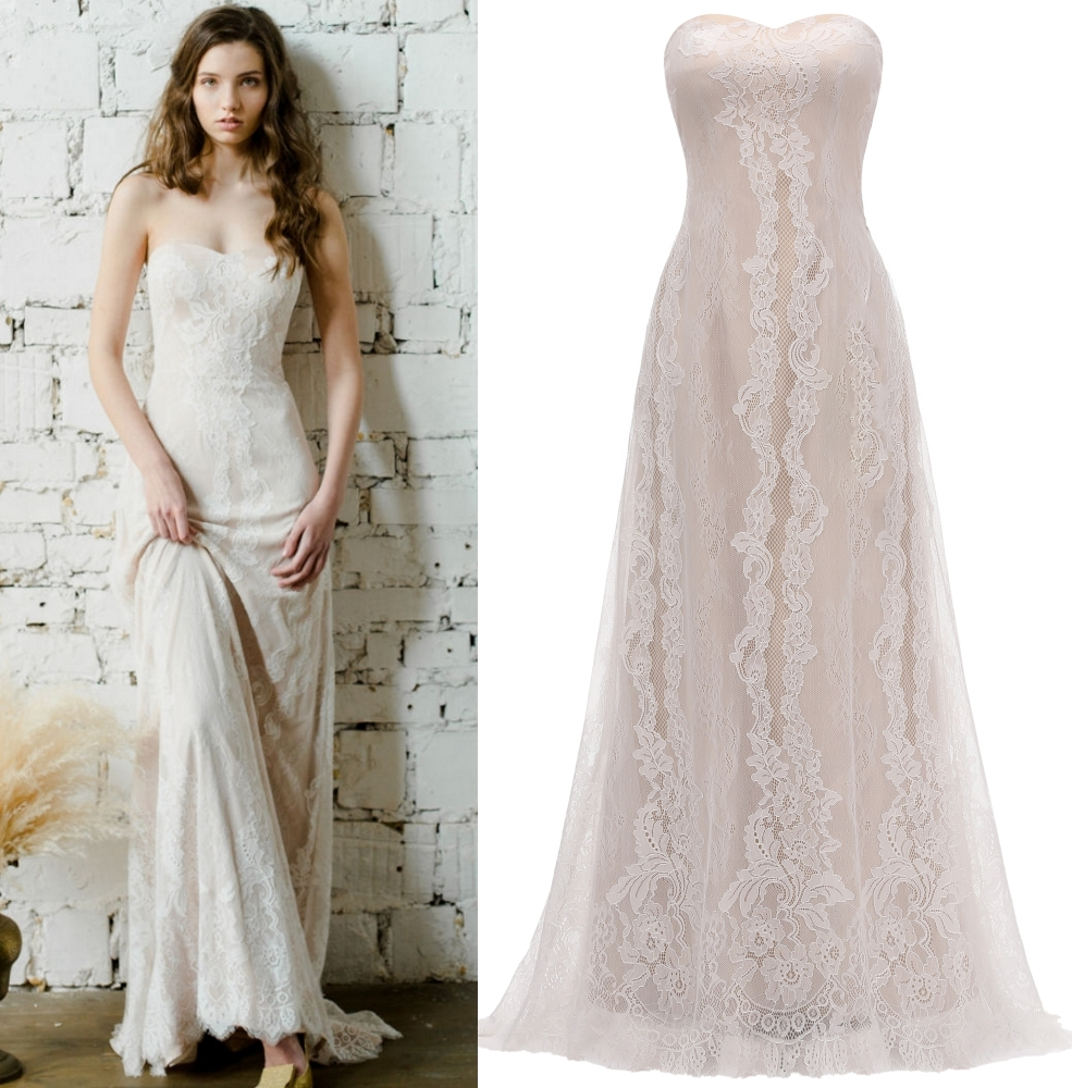 Real Photo Off Shoulder Champagne Lace Bridal Gown Zipper Bohemian Wedding Dress