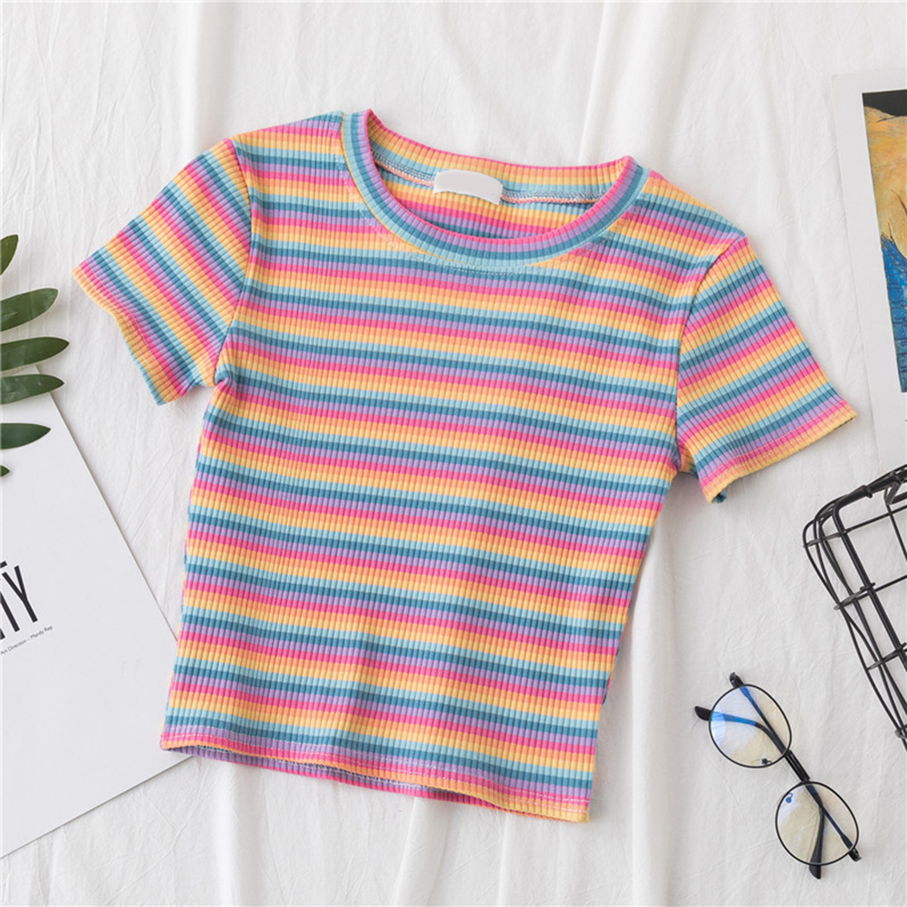 Women Rainbow Striped Tops Harajuku Tshirt Summer Short Sleeve Korean T-shirt Casual O-neck Crop Slim and simple Striped Top