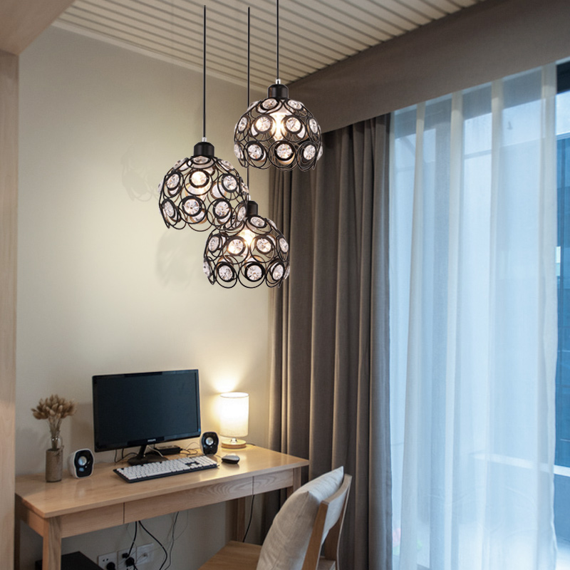 BTX Restaurant Droplight LED Pendant Light  Loft  Lighting Crystal Bar  Iron Cage