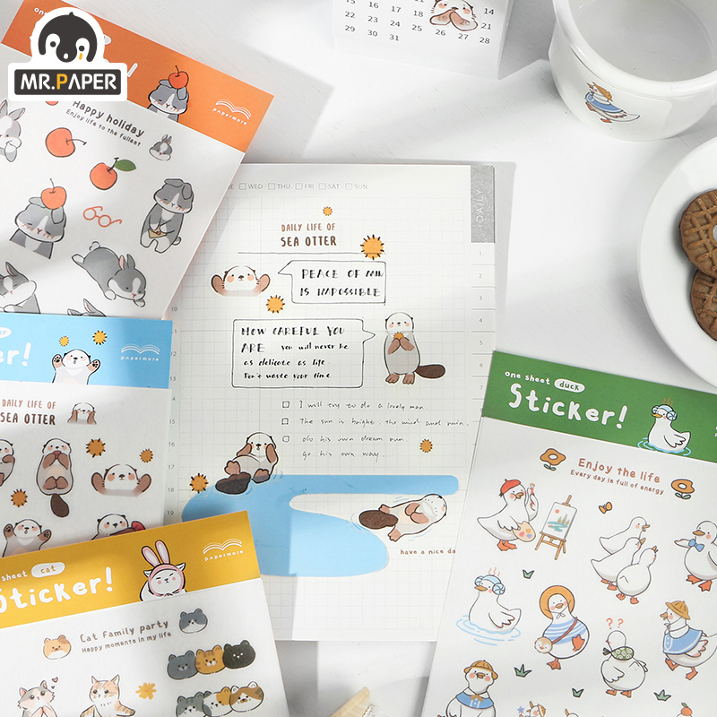 Mr.paper 4 Designs 1Pcs/set Lovely Animal Deco Diary Sticker Scrapbooking Bullet Journal Kawaii Decorative Stationery Sticker