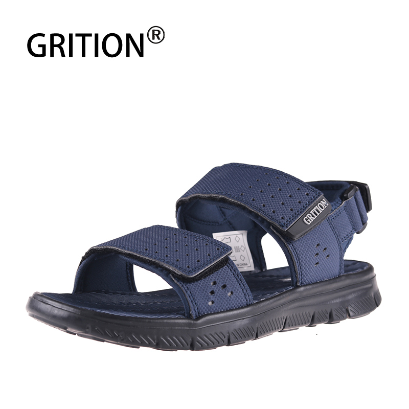 GRITION Men Outdoor Sandals Summer Flat Breathable Beach Shoes Quick-drying Anti-skid Hiking Sandals 2019 Fashion Men Footwear