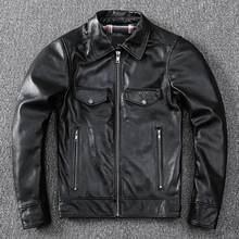 Мужская Байкерская кожаная куртка черная из натуральной кожи