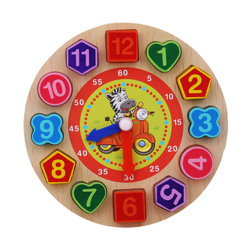 Wooden Toy Colorful 12 Digital Clock Toy Digital Geometric Cognitive Clock Toy Baby Child Early Education Toy Puzzle Gift
