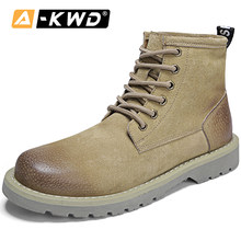 Fashion Zwart Bruin Kaki Winter Mannen Laarzen Met Bont Snowboots Lace Up Outdoor Casual Winter Mannen Schoenen Pig Huid lederen Laarzen 44(China)