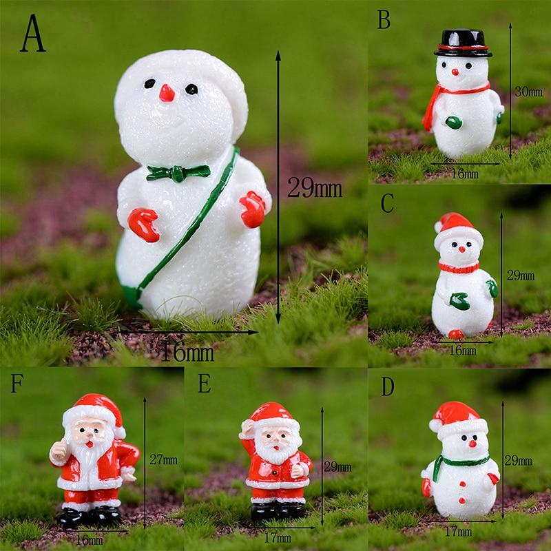 Santa Claus Snowman Merry Christmas Miniature Cute  Kawaii DIY Figurine Garden Decor Micro Landscape 1PC Mini Ornament