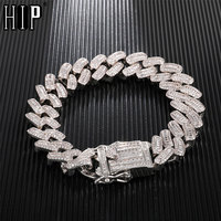 Hip Hop 15MM Bling Iced Out AAA CZ Square Zircon Cuban Link Chain Bracelet For Men's Copper Bracelet For Men Jewelry