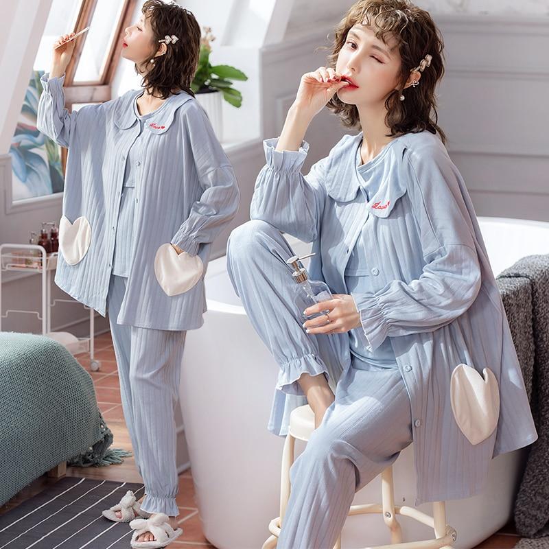 3PCS/Se Spring Fashion Cotton Maternity Nursing Sleepwear Nightwear Clothes For Pregnant Women Pregnancy Homewear Lounge Pajamas
