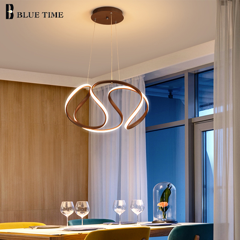 Modern Pendant Lights For Living Room Dining Room Circle Rings Acrylic Aluminum Body LED Ceiling Lamp pendant light Fixtures