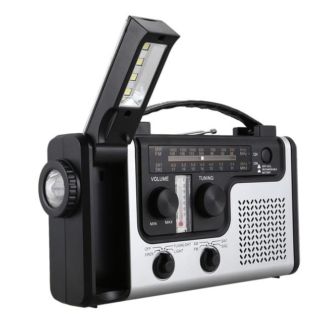 ABHU-Outdoor Multifunctional Solar Radio Portable FM/AM Radio Built-in Speaker Support LED Emergency Flashlight Table Lamp Therm 4