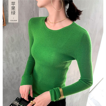 Cashmere sweater ladies knitted O-neck 100% long-sleeved solid color casual fashion thin jacket