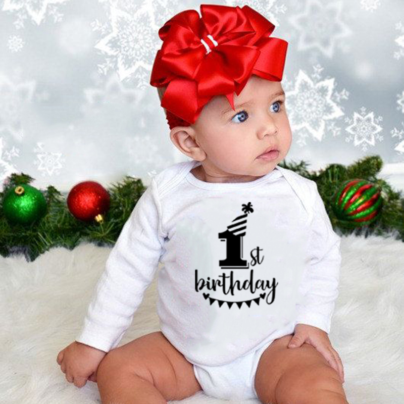 My First Birthday Infant Boy Girl Cotton <font><b>Romper</b></font> Toddler Newborn One Year Old <font><b>Baby</b></font> Party Jumpsuit Funny Cute 0-24M <font><b>Babies</b></font> Clothes image