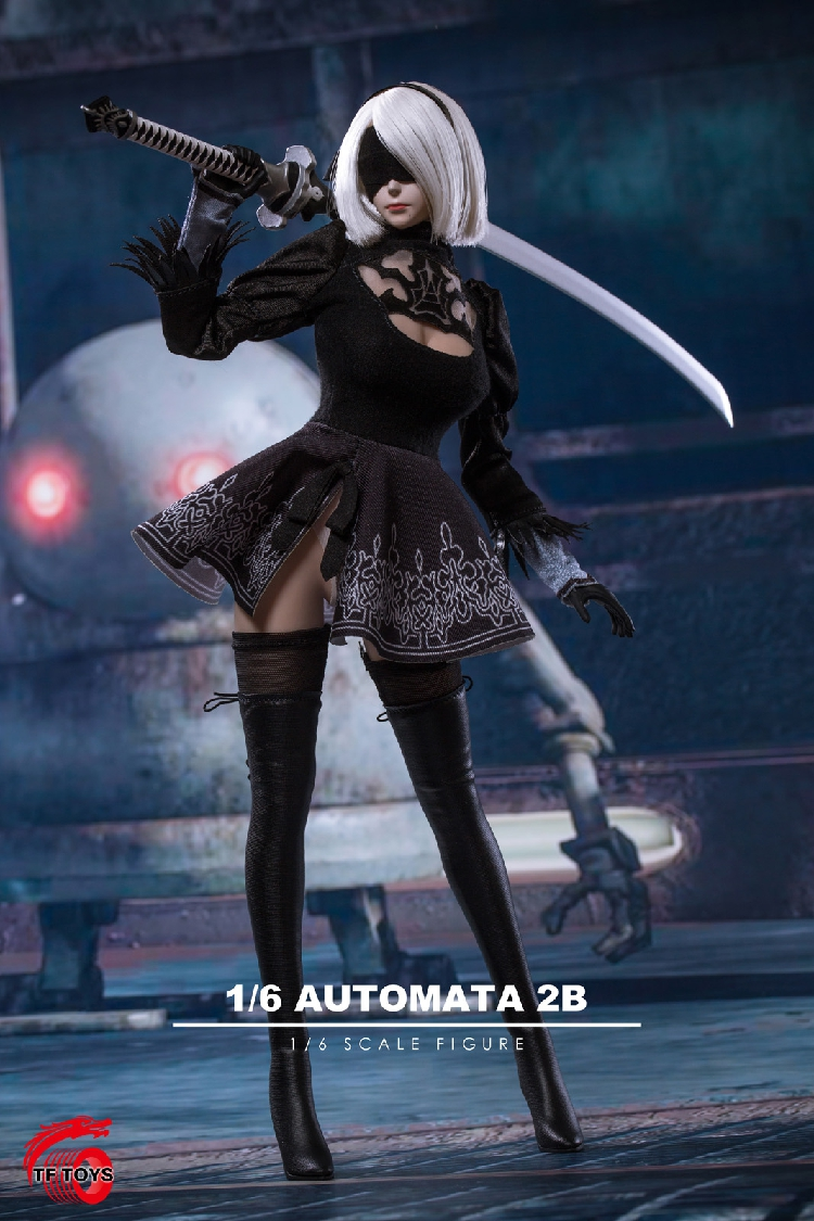 1/6 NieR:Automata A2 Female Girl Head Carved with Sword Clothes Set 1/6 Scale Sexy Clothes Set TF01 for 12'' Female Figure Body