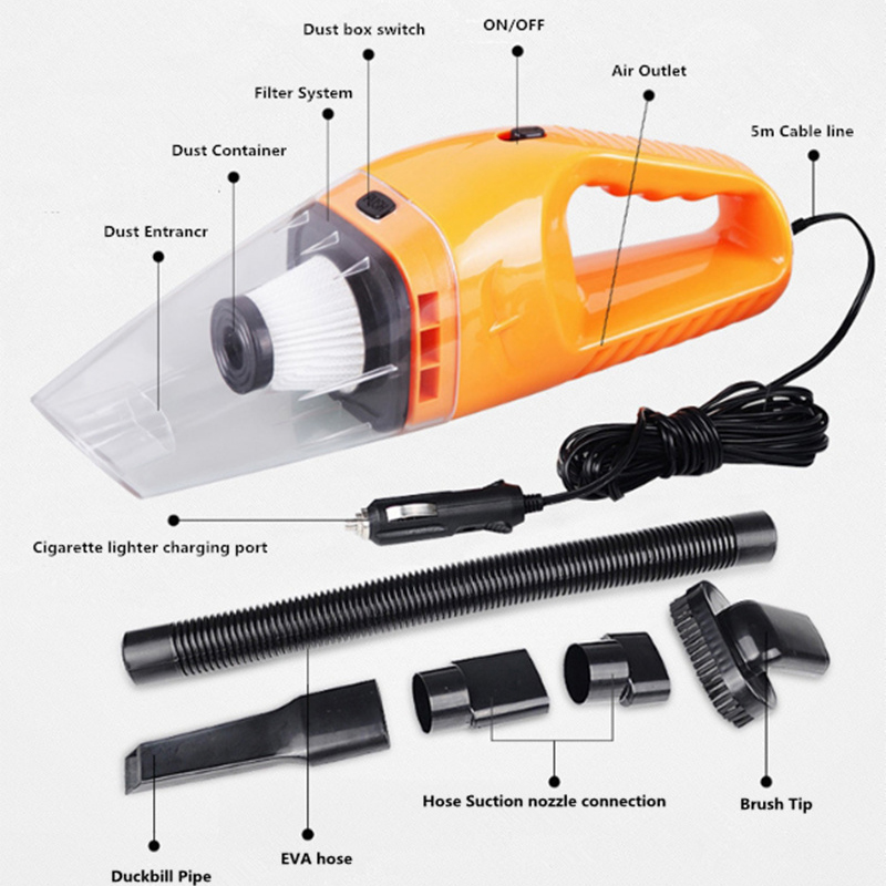 Car Handheld Vacuum Cleaner <font><b>12V</b></font> 120W Wet and Dry for Chery Tiggo Fulwin A1 A3 QQ E3 <font><b>E5</b></font> G5 V5/ image