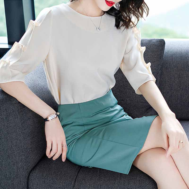 Goddess-Style Dress Outfit 2019 Summer New Products Korean-style Chiffon Blouse One-step Skirt Elegant Two-Piece Set-